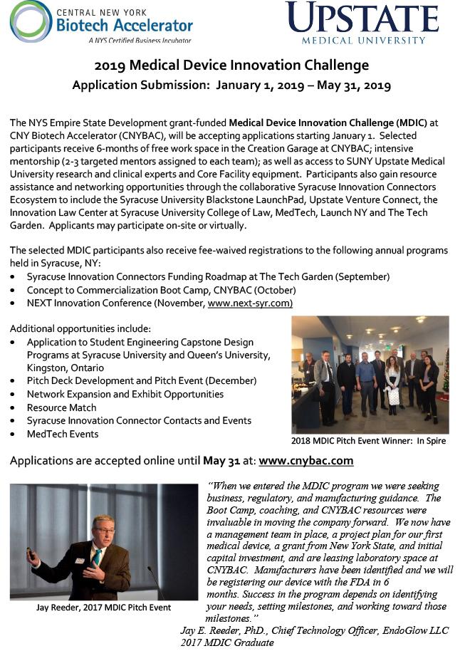 CNY Biotech Accelerator: Medical Device Innovation Challenge