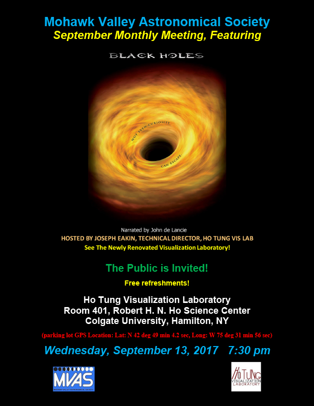 MVAS September Meeting featuring Black Holes